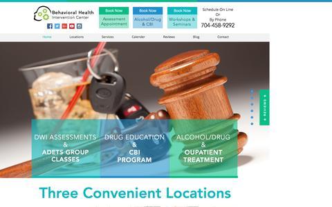 Screenshot of Home Page cbhic.com - DWI Assessments in Charlotte- Ballantyne, Matthews, & University area - captured June 27, 2016