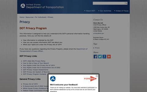 Screenshot of Privacy Page dot.gov - Privacy | Department of Transportation - captured Oct. 23, 2014