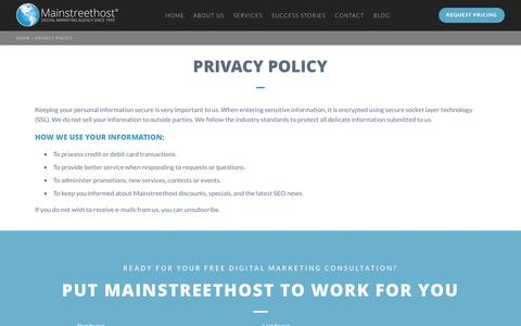 Screenshot of About Page mainstreethost.com - Privacy Policy | Mainstreethost: Digital Marketing Agency Since 1999 - captured Nov. 14, 2016