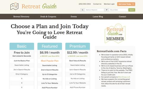 Screenshot of Signup Page retreatguide.com - Join Retreat Guide - Today! - captured April 8, 2017