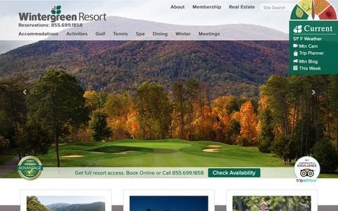 Screenshot of Home Page wintergreenresort.com - Wintergreen Resort, Premier Blue Ridge Mountain Virginia Vacation and Ski Resort - captured Oct. 19, 2018