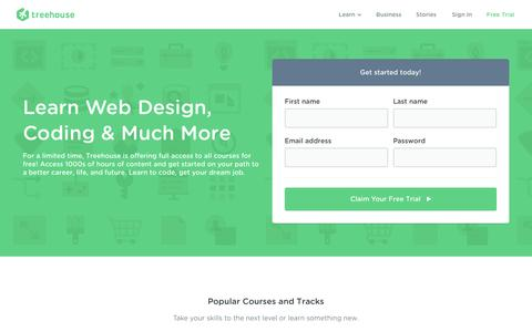 Screenshot of Trial Page teamtreehouse.com - Start Learning at Treehouse for Free - captured Nov. 17, 2016