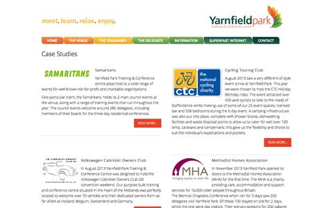 Screenshot of Case Studies Page yarnfieldpark.com - UK Conference Events & Training - Case Studies at Yarnfield Park - captured Oct. 1, 2014
