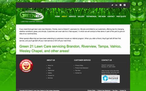Screenshot of About Page green21lawn.com - About Us - Green 21 Lawn Pest Control Services - captured Oct. 3, 2014