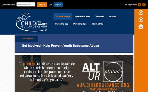 Screenshot of Signup Page childguidance.org - Get involved - Help prevent youth substance abuse - captured Jan. 27, 2016