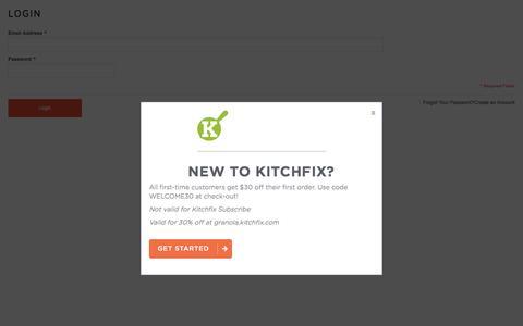 Screenshot of Login Page kitchfix.com - Kitchfix Foods -  Customer Login  - Kitchfix - captured Aug. 9, 2016