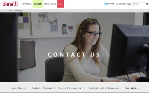 Screenshot of Contact Page danetti.com - Contact Danetti | Danetti | The Art of Interiors - captured Aug. 5, 2018