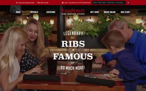Screenshot of Home Page tonyromas.com - Tony Roma's Steakhouse Restaurant - Ribs, Seafood, Steaks Tony Roma's Restaurant - captured Oct. 2, 2015