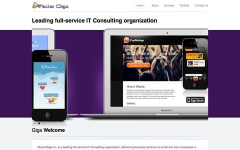 Screenshot of Home Page doctorgiga.com - DoctorGiga | Apps made easy - captured Sept. 30, 2014
