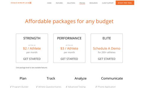 Screenshot of Pricing Page coachmeplus.com - Pricing - CoachMePlus Athlete Management Software - captured Oct. 14, 2019