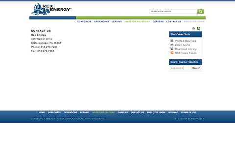 Screenshot of FAQ Page rexenergycorp.com - CONTACT US | Rex Energy Corporation - captured Feb. 3, 2018