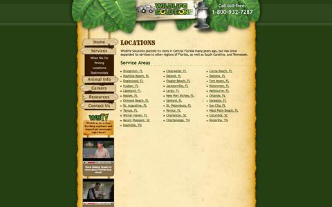 Screenshot of Locations Page wildlifesolutions.com - Wildlife Solutions Locations for Wildlife Services - captured Oct. 26, 2014
