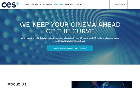 Screenshot of About Page cinemaequip.com - About Us - CES+ - captured Sept. 28, 2018
