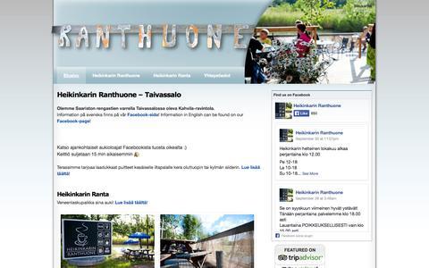 Screenshot of Home Page ranthuone.fi - Heikinkarin Ranthuone | Ravintola, kahvila, veneenlaskupaikka | Taivassalo - captured Oct. 2, 2014