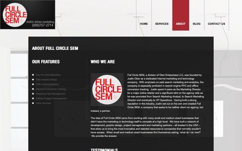 Screenshot of About Page fullcirclesem.com - About | Full Circle SEM - captured Sept. 30, 2014