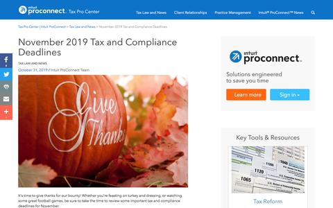 Screenshot of Press Page intuit.com - November 2019 Tax and Compliance Deadlines | Tax Pro Center | Intuit ProConnect - captured Nov. 21, 2019