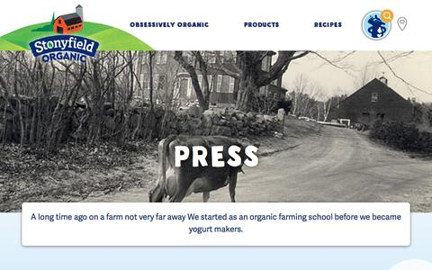 Screenshot of Press Page stonyfield.com - Press - Stonyfield - captured March 17, 2018