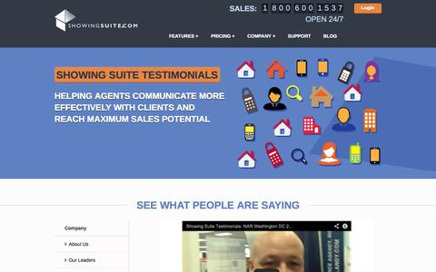 Screenshot of Testimonials Page showingsuite.com - Testimonials | Showing Suite Real Estate SoftwareShowing Suite - captured Sept. 19, 2014