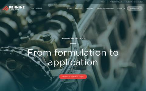Screenshot of Home Page penninelubricants.co.uk - Industrial Lubricants for Specialist Applications | Pennine Lubricants - captured Oct. 31, 2016