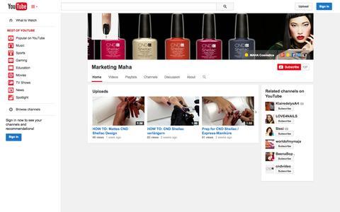 Screenshot of YouTube Page youtube.com - Marketing Maha  - YouTube - captured Oct. 23, 2014