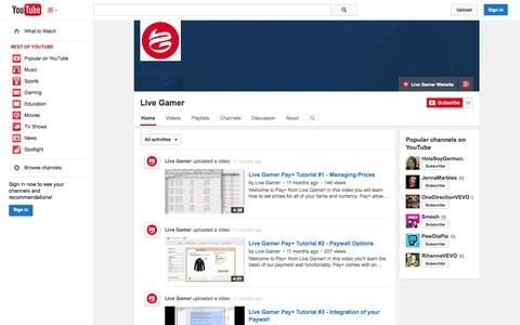 Screenshot of YouTube Page youtube.com - Live Gamer  - YouTube - captured Oct. 22, 2014