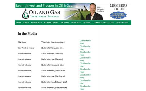 Screenshot of Press Page oilandgas-investments.com - In the Media - captured Sept. 23, 2018