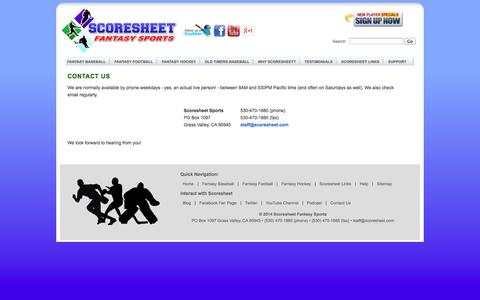 Screenshot of Contact Page scoresheet.com - Scoresheet | Contact Us - captured Sept. 25, 2014