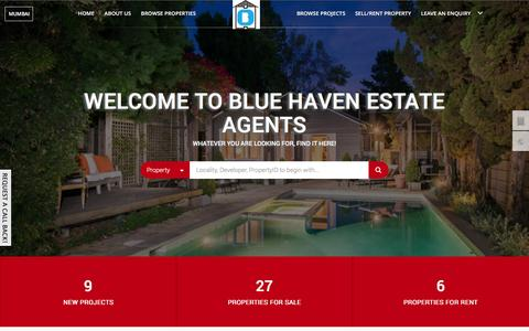 Screenshot of Home Page bluehaven.in - Blue Haven Estate Agents, Residential flats / apartments in Mumbai, Commercial Properties in Mumbai, Brokers in Mumbai - captured Feb. 7, 2016