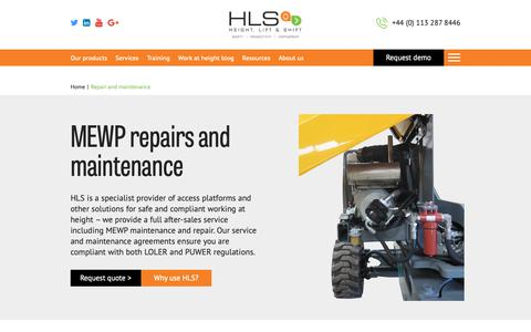 Screenshot of Services Page hls.co - HLS offer a full MEWP repairs, servicing and maintenance package including LOLER examinations - captured Sept. 28, 2018