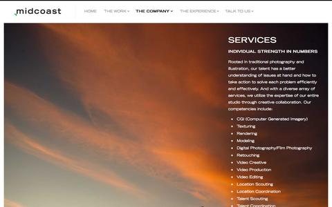 Screenshot of Services Page midcoaststudio.com - Services — Midcoast   CGI Studio   3D Studio   Commercial Photography   Post Production - captured Oct. 27, 2014