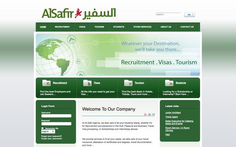 Screenshot of Home Page alsafir-agency.com - Welcome To Our Company - captured Sept. 30, 2014