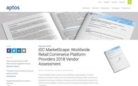 Screenshot of Case Studies Page aptos.com - IDC MarketScape: Worldwide Retail Commerce Platform Providers 2018 Vendor Assessment - Aptos - captured Feb. 20, 2020