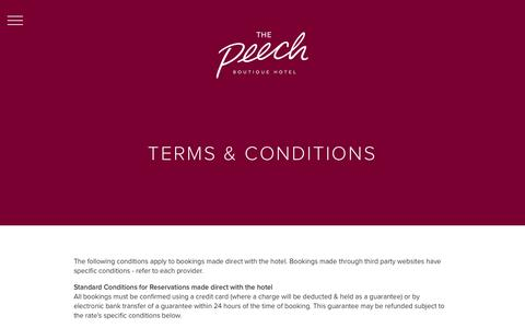 Screenshot of Terms Page thepeech.co.za - The Peech – Boutique Hotel, Johannesburg, South Africa > Terms & Conditions - captured Feb. 28, 2016