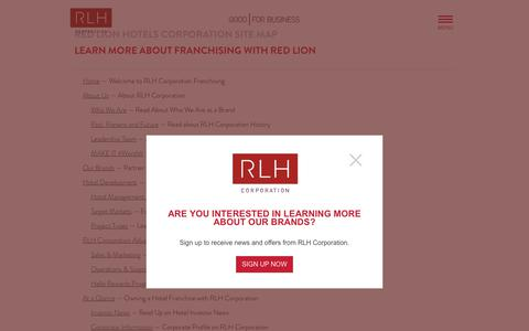 Screenshot of Site Map Page redlion.com - Site Map | RLH Corporation - captured Oct. 19, 2017