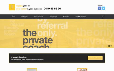 Screenshot of Home Page theprivatecoach.com.au - the private coach | performance strategist | behavioural specialist | master coach | educator - captured Aug. 4, 2015