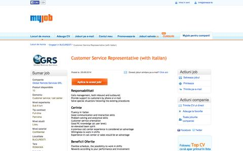 Screenshot of Support Page myjob.ro - Customer Service Representative (with Italian) la Global Remote Services SRL - captured Sept. 24, 2014