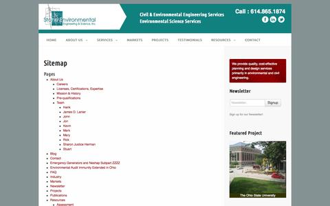Screenshot of Site Map Page stoneenvironmental.com - Sitemap | Stone Environmental | Civil and Environmental Engineering Columbus, Ohio - captured Oct. 7, 2014