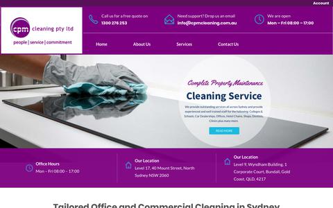 Screenshot of Home Page cpmcleaning.com.au - Office, School, & College Cleaners Sydney - Commercial Cleaning Services CBD - captured Sept. 25, 2018