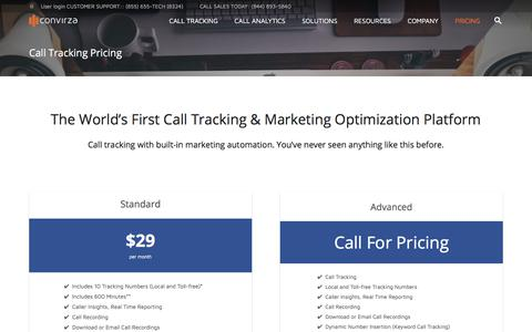 Screenshot of Pricing Page convirza.com - Call Tracking Pricing - Convirza - captured Aug. 27, 2017