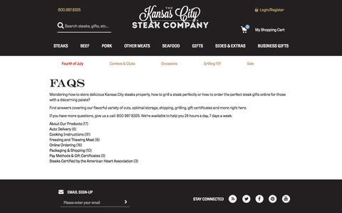 Screenshot of FAQ Page kansascitysteaks.com - FAQs:Frequently Asked Questions : Kansas City Steaks - captured June 30, 2017