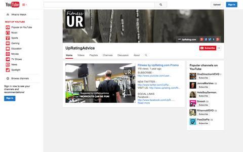 Screenshot of YouTube Page youtube.com - UpRatingAdvice  - YouTube - captured Oct. 25, 2014