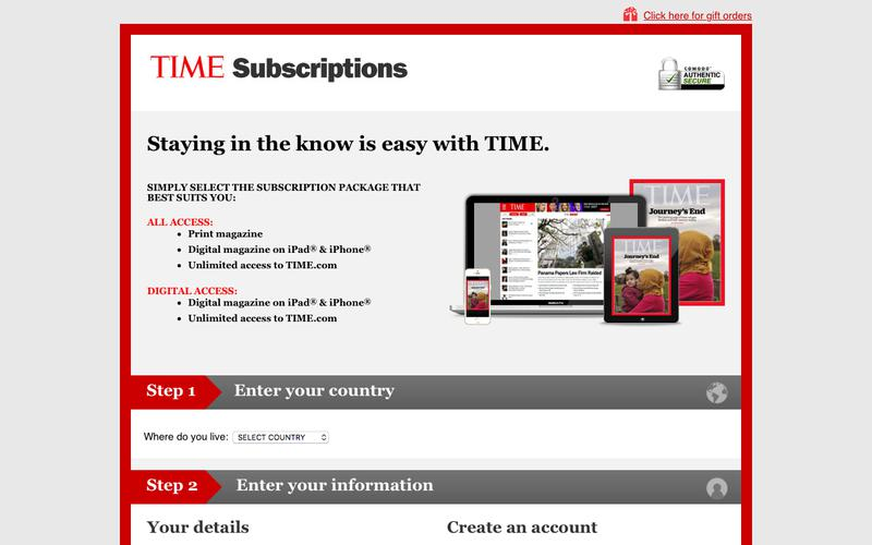 TIME magazine South Pacific - Online subscription offers