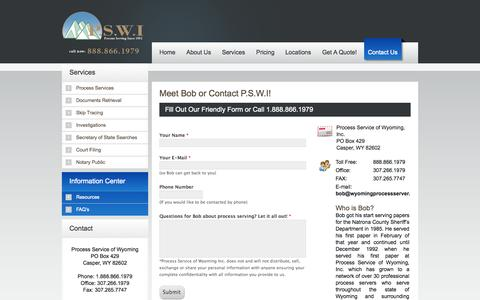 Screenshot of Contact Page wyomingprocessserver.com - Contact P.S.W.I Today Or Ask Questions Here - captured Oct. 3, 2014