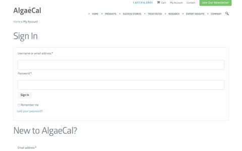 Screenshot of Login Page algaecal.com - AlgaeCal My Account - captured Sept. 3, 2016