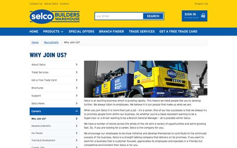 Screenshot of Jobs Page selcobw.com - Why Join Us? | Selco - captured Sept. 23, 2014