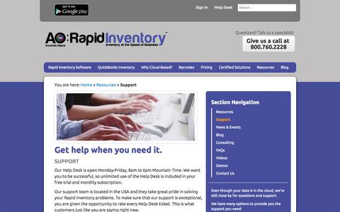 Screenshot of Support Page rapidinventory.com - QuickBooks Inventory Software Training & Support   AO: Rapid Inventory - captured Oct. 1, 2014
