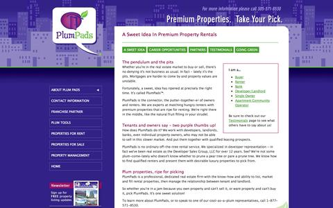 Screenshot of About Page plumpads.com - Property Management Company   Miami Rental Agency   (305) 571-8530   Plum Pads, LLC - captured Oct. 3, 2014