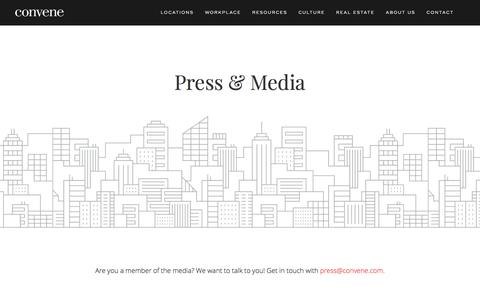 Screenshot of Press Page convene.com - Press - Convene - The Easiest Place to Meet and Work - captured Feb. 28, 2018