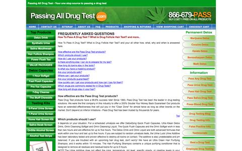 Screenshot of FAQ Page passingalldrugtest.com - Frequently Asked Questions at Passingalldrugtest.com - captured March 6, 2016