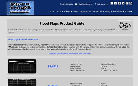 Screenshot of Products Page floodflaps.com - Flood Vents, Product Guide - captured Jan. 8, 2016